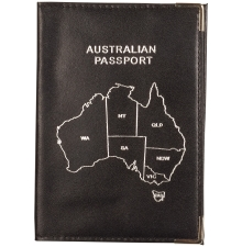 Leather Australian Passport  Black