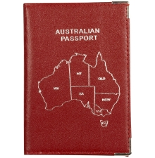 Leather Australian Passport Red