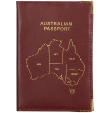 Leather Australian Passport Burgandy