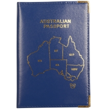Leather Australian Passport Dark Blue