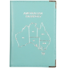 Leather Australian Passport Aqua