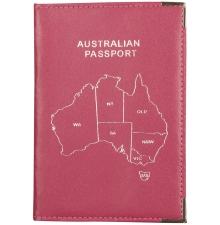Leather Australian Passport Hot PInk