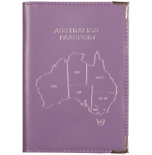 Leather Australian Passport Lilac