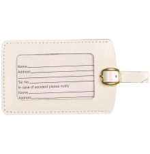 Leather Luggage Tag  White