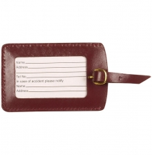 Leather Luggage Tag Burgundy