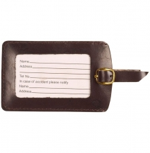 Leather Luggage Tag Chocolate