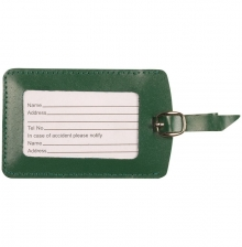 Leather Luggage Tag  Dark Green