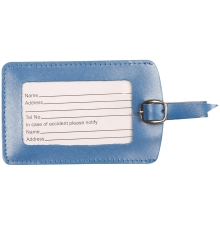 Leather Luggage Tag Metallic Blue