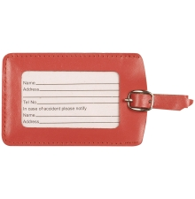 Leather Luggage Tag Orange