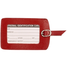 Leather Luggage Tag Red