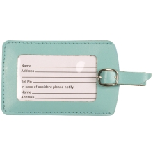 Leather Luggage Tag Aqua