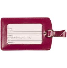 Leather Luggage Tag Plum