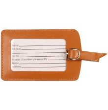 Leather Luggage Tag Burnt Orange