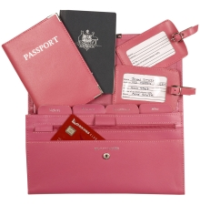 Leather Travel Set Hot Pink
