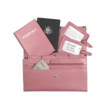 Leather Travel Set Baby Pink