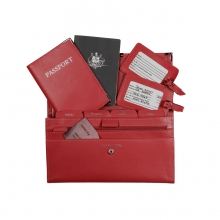 Leather Travel Set Fire Engine Red