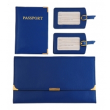 Leather Travel Set Dark Blue