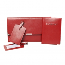 Leather Travel Set Maroon
