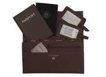 Leather Travel Set Dark Brown