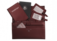 Leather Travel Set Burgandy