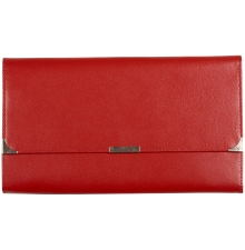 Leather Travel Wallet Fire Engine Red