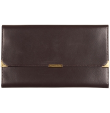 Leather Travel Wallet Dark Brown