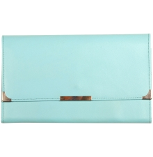Leather Travel Wallet Aqua