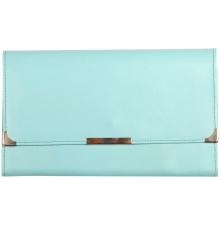 Leather Travel Wallet Aqua