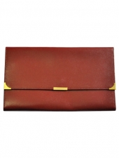 Leather Travel Wallet Burgundy