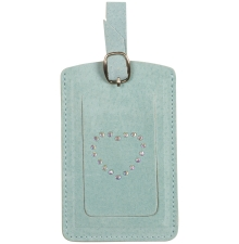 Suede Luggage Tag Aqua