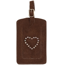 Suede Luggage Tag Chocolate