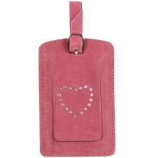 Suede Luggage Tag Hot Pink
