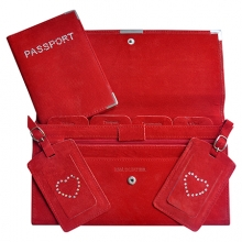 Suede Travel Set Red
