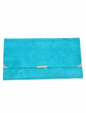 Suede Travel Wallet Aqua